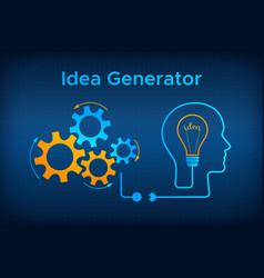 Head silhouette lightbulb idea generator concept vector