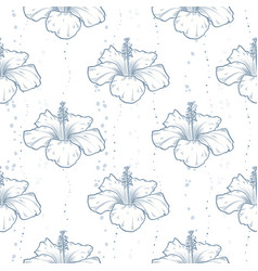 hibiscus seamless pattern flowers vector image