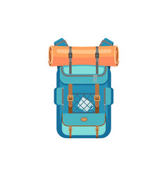 hiking rucksack with mat cup isolated travel bag vector image