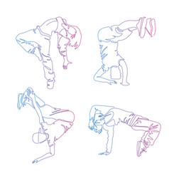 Hip-hop dancer continuous line drawing set of vector