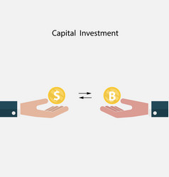 Human hand with us dollar and bitcoin sign vector