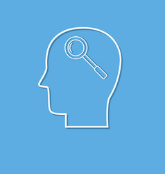 human head and magnifying glass cut from white vector image