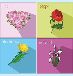 Icons with flowers vector