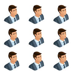 isometry of the head of the hairdo businessman vector image