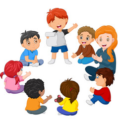 kids sitting in a circle reading a poem vector image