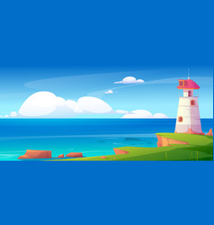 lighthouse on sea shore beacon building at ocean vector image