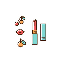 lipstick icon thin line art colorful design vector image