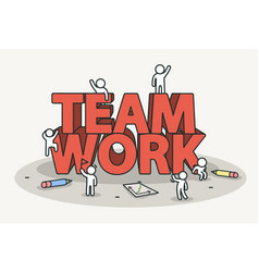 Little white with team work text teamwork and vector