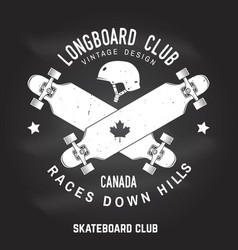 Longboard club sign on the chalkboard vector