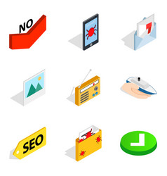 maintenance of security icons set isometric style vector image