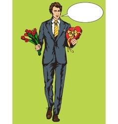 Man with candies box and flowers pop art vector