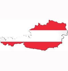 Map of austria with national flag vector