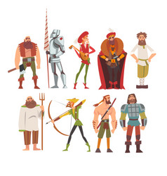 medieval historical cartoon characters vector image