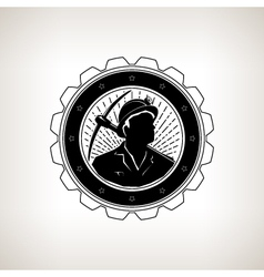 Miner with Pick Axe Vintage Emblem vector