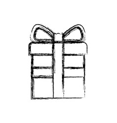 monochrome blurred silhouette of gift box with vector image