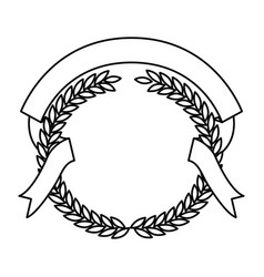 Monochrome olive branches and ribbon interlace vector