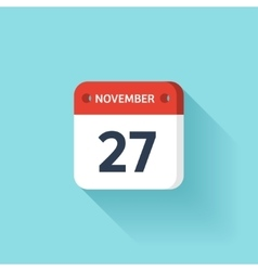 November 27 Isometric Calendar Icon With Shadow vector