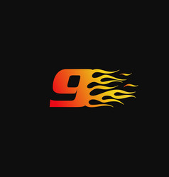 Number 9 burning flame logo design template vector