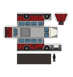 paper model of a vintage red bus vector image