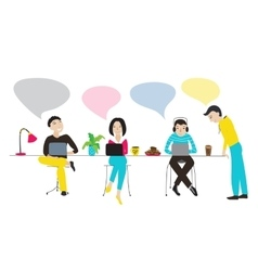 People working together with speech bubbles vector