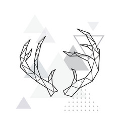 polygonal deer horns on minimalist vector image
