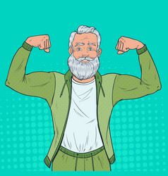 Pop art mature senior man showing muscles vector