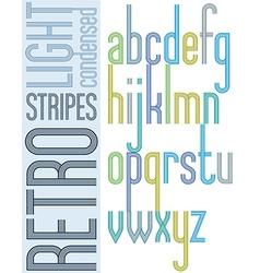 Poster retro bright condensed font striped compact vector image