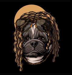 Pug dog dreadlocks hair vector