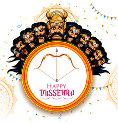ravana with ten heads for navratri festival of vector image