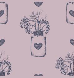 rovan berries seamless pattern hand drawn sketch vector image