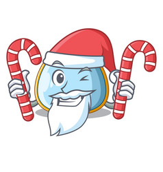 santa with candy baby bib isolated on the mascot vector image