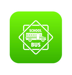 School bus icon green vector