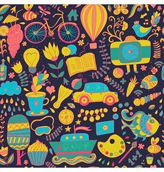 seamless pattern childish doodles Pattern set of vector image