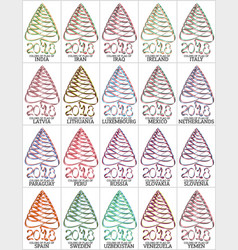 set of ribbons in the form of a christmas tree vector image