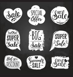 Set of sale lettering in comic speech vector