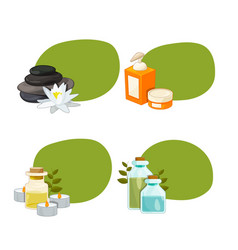 set of stickers with cartoon beauty and spa vector image