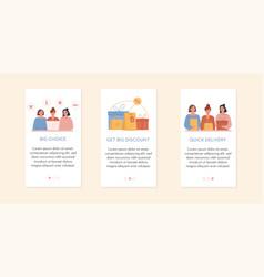 Set screens for mobile online shopping app vector