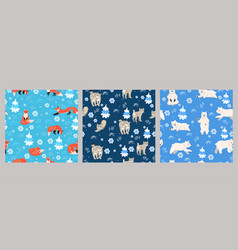set seamless patterns with winter animals vector image