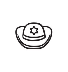 Sheriff hat sketch icon vector