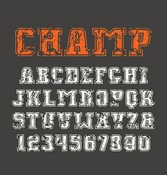 Slab serif font and numerals vector