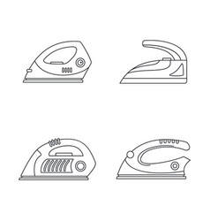 Smoothing iron drag icons set outline style vector