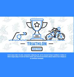 Sport triathlon banner outline style vector