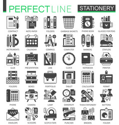 stationery black mini concept symbols office vector image
