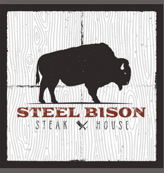 steak house logo vintage typography design with vector image