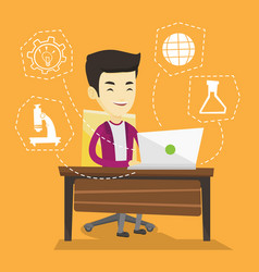 student working on laptop vector image