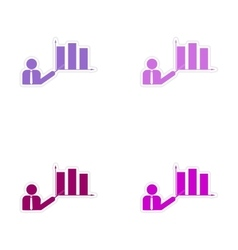 Stylish assembly sticker on paper People and chart vector