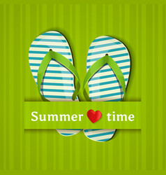 summer time card with flip flops vector image