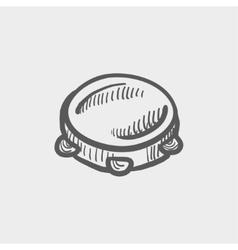 Tambourine sketch icon vector