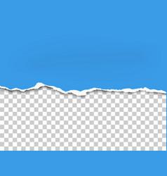Torn bottom side of sheet of blue paper vector