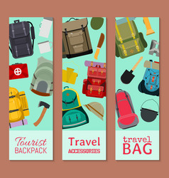tourist camping backpack set banners travel vector image